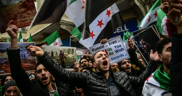 people rally in Istanbul against the offensive on Eastern Ghouta